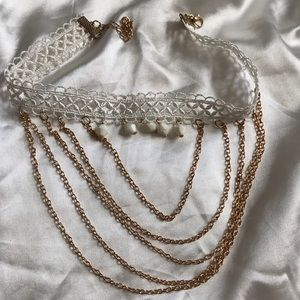 Princess choker with gold chains